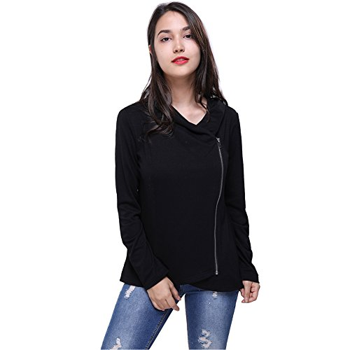Knit Collar Jacket (Fancyqube Women's Casual Long Sleeve Asymmetric Zipper Knit Sweater Jacket Black L)