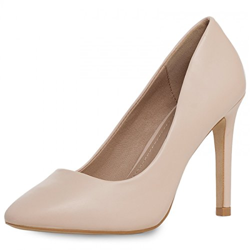 CASPAR SBU006 Womens Classic Court Shoes High Heels Old Rose