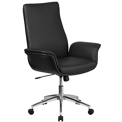 - Flash Furniture Mid-Back Black Leather Executive Swivel Chair with Flared Arms