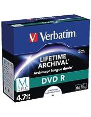 Verbatim MDISC DVD R 4,7 GB - 4x brandsnelheid, lange levensduur, 5 Pack Jewel Case