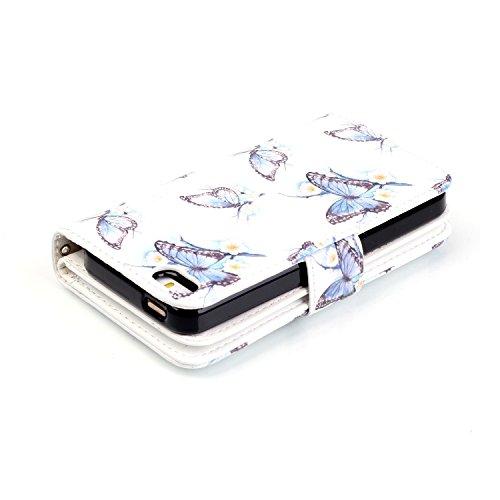 PU Cuero Carcasa para iPhone 5C Funda Resistente Protectora Leather Wallet Case Cover Shell Sunroyal® Cubierta Caja Caso del Soporte Billetera Carcasa con Stand Función y Ranura de Tarjeta +1x enchufe B-07