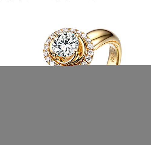 Gnzoe Rose Gold Women Wedding Rings Solitaire Engagement Rings Crown Flowers Yellow with White Blue 0.2ct Diamond Size 7.5 by Gnzoe