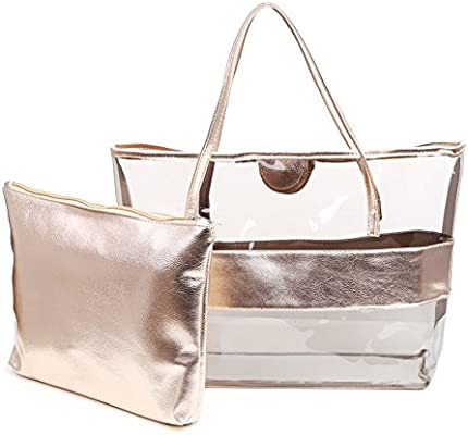 b9ac1fa15a Zicac Lady Women Girl Candy Color Semi-clear Transparent Stripe Waterproof  Swimming PVC Beach Cosmetic Shoulder Tote Bag with Small Handbag (Champagne)