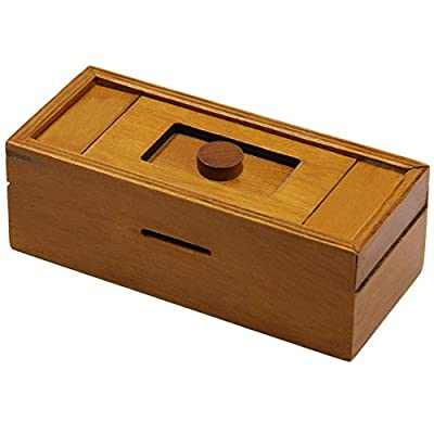 ATDAWN Puzzle Gift Case Box with Secret Compartments, Wooden Money Box to Challenge Puzzles Brain Teasers for Adults