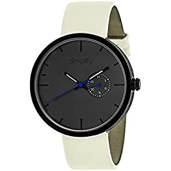 Simplify Men's 'The 3900' Japanese Quartz Movement Metal Case and Leather Watch, Color:Eggshell (Model: SIM3905)