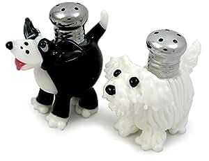 American Made Hand-blown Art Glass Salt/Pepper Shakers: 'Salty + Peppa' Dogs