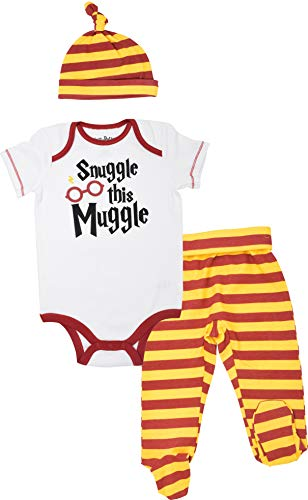 Harry Potter Baby Boys' Layette Clothing Set Bodysuit Pants with Footies & Hat (12 Months) White