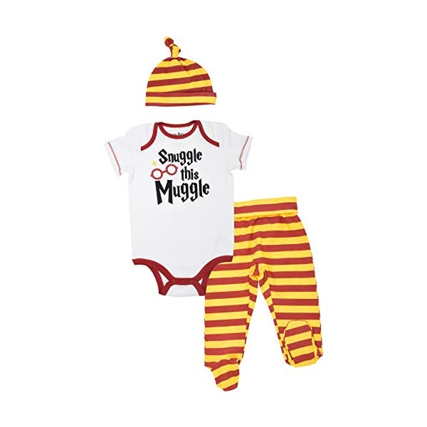 Harry Potter Baby Boys' Layette Clothing Set Bodysuit Pants with Footies &...