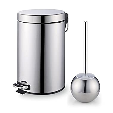 Cook N Home Step Trash Bin Toilet Brush Set, Stainless Steel
