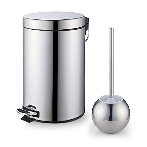 Cook N Home Stainless Steel Step Trash Can/Bin and Toilet Brush with Holder Set, 7 Liter, Round -