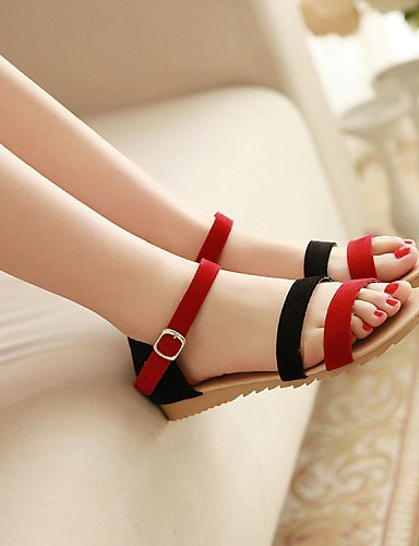 ShangYi Womens Shoes Fleece Flat Heel Comfort / Closed Toe Sandals Office & Career / Dress / Casual Black / Red Red
