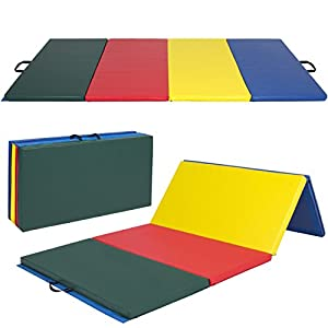 Best Choice Products 8ft 4 Panel Extra Thick Foam Folding Exercise Gym Floor Mat for Gymnastics, Aerobics, Yoga, Martial Arts w/Carrying Handles Multicolor