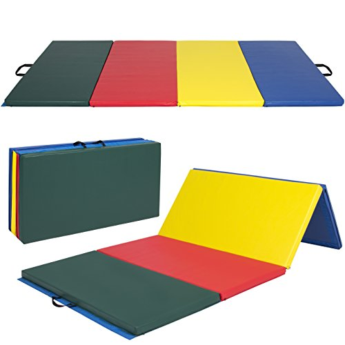 "4' x 8' x 2"" PU Leather Gymnastics Tumbling / Martial Arts Folding Mat Multicolor"