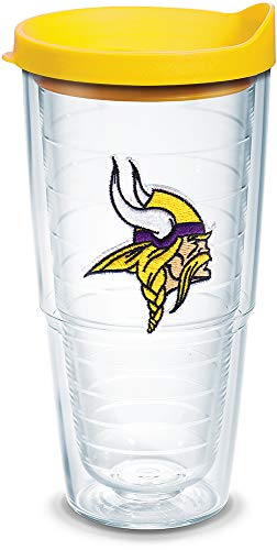 Tervis 1039115 NFL Minnesota Vikings Primary Logo Tumbler with Emblem and Yellow Lid 24oz, Clear