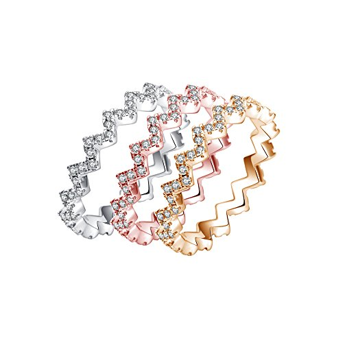 CRARINE Stacking Rings,All Around Pave Cubic Zirconia Fashion Knuckle Stackable Infinity Band Plated Rose Gold White Gold Yellow Gold 4 PCS Set for Women Girls -8#