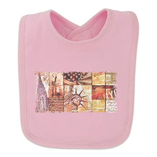New York City Statue Liberty Tile Collage Baby Bib - Pink
