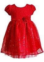 Youngland Little Girls Sequin Glitter Dress, 4T, Red