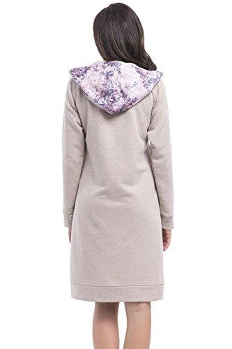 Dn-Nightwear SKZ.8007 Albornoz De Mujer Con Capucha- Hecho En UE beige- rosa