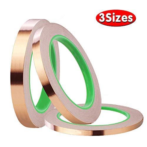 (3 Pack Copper Foil Tape with Conductive Adhesive,3 Sizes Copper Tape Double-Sided for EMI Shielding,Slug Repellent,Paper Circuits,Electrical Repairs,Grounding(6/8/10mm))