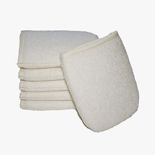 Natural Organic Face Pad Sponge Scrubber Brush Shower Bath Spa Soften Smooth Renew Skin Ultra Soft (50%Bamboo +50%Cotton 9X12CM) Renewable Resource, Pack of 6 (Organic Spa Renew)