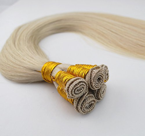 Hand Tied Remy Human Hair Weft White Blonde #60 Silky Straight 22inch 100gm 6a Grade