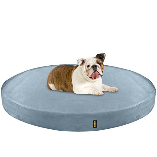 KOPEKS Deluxe Orthopedic Memory Foam Round Dog Bed - Large - Grey