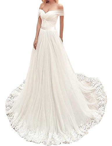 Mordarli Women's off Shoulder Bust Pleated Lace Applique Edge Wedding Dress Bridal Gown by Mordarli