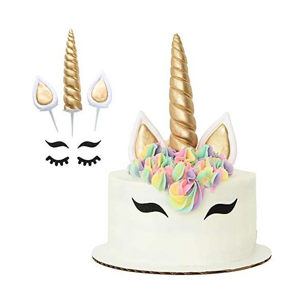 Unicorn Cake Topper with Eyelashes | Handmade Unicorn Cake Decorations, Gold Unicorn Horn, Ears, 2 Sets of Unicorn… 3