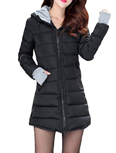 XINHEO Womens Zips Solid Fit Mid-Long Warm Hoode Pocketed Down Jackets Black