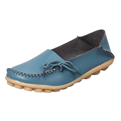 Heheja Mujer Mocasines de Cuero Loafers Casual Piso Zapatos Zapatillas con Bowknot Azul Claro