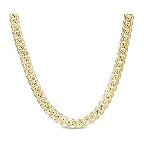 - 41OlA7PResL - 10K Yellow Gold Miami Cuban Link Chain Bracelet or Necklace with Box Lock Clasp 7MM Wide