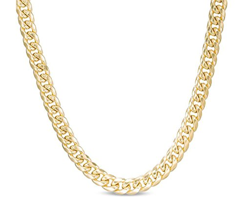 10K Yellow Gold Miami Cuban Link Chain Bracelet or Necklace with Box Lock Clasp 7MM Wide (22.0) ()