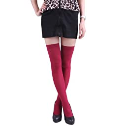 HDE Women\'s 4-Pack of Solid Color Opaque Sexy Thigh High Stockings Socks (One Size Plus)