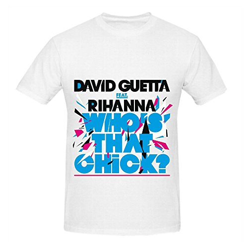 David Guetta Who's That Chick Men Crew Neck Music Shirts White (Homer Simpson Muscle)