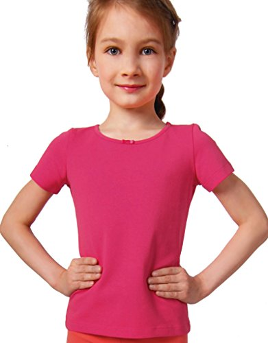 Petite Amelia Little Girls Short Sleeve Bow Tie Top, Size 2, Hot Pink