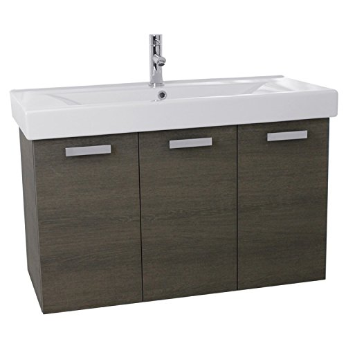 ACF C151 Cubical Wall Mount Bathroom Vanity with Fitted Ceramic Sink, 39