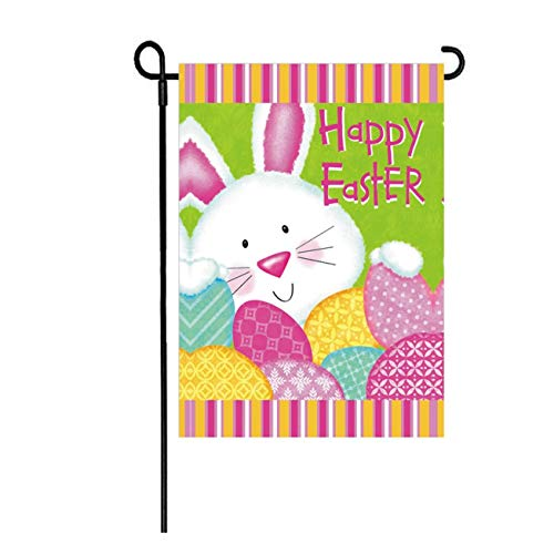 LHSION Happy Easter Bunny Garden Flag 12.5 x 18 Inch Decorative Double Sided Flag for Spring Easter Decoration