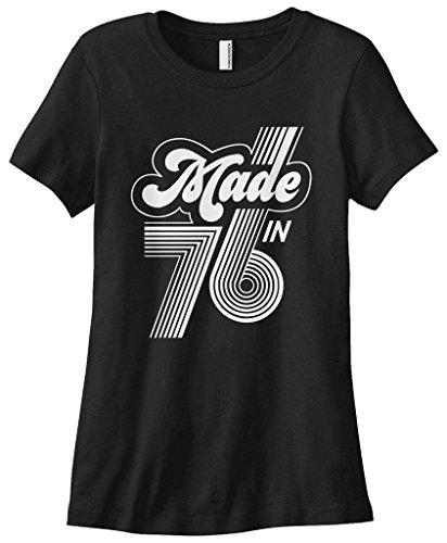 1976 T-shirt (Threadrock Women's Made in 1976 T-shirt M Black)
