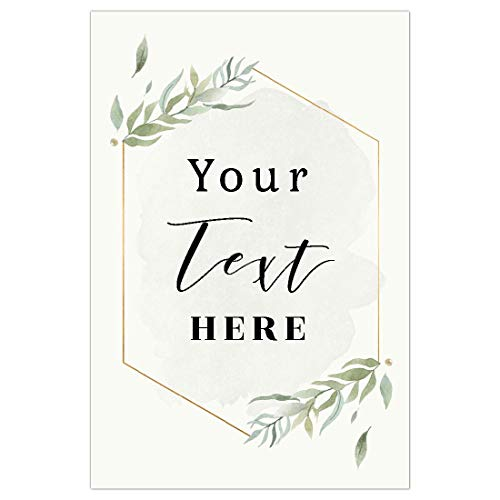 (Andaz Press Personalized Extra Large Wedding Easel Board Party Sign, 12x18-inch, Modern Black, Gold with Green Leaves Florals, Your Text Here, 1-Pack,)