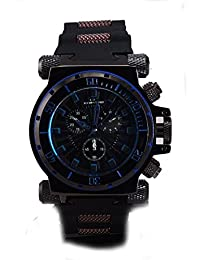 Mens Diver Look Stainless Steel Barrel Inserts Black Rubber Watch-Blue Accent