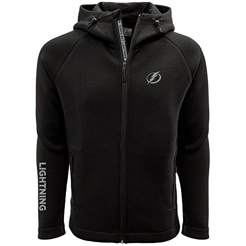 NHL Tampa Bay Lightning Adult Men Titan Insignia Bold Full Zip Hooded Jacket, X-Large, Black (Jacket Tampa Bay)