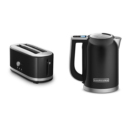 KitchenAid KMT4116OB Onyx Black 4 Slice Long Slot Toaster and KitchenAid KEK1722OB Onyx Black 1.7-Liter Electric Kettle