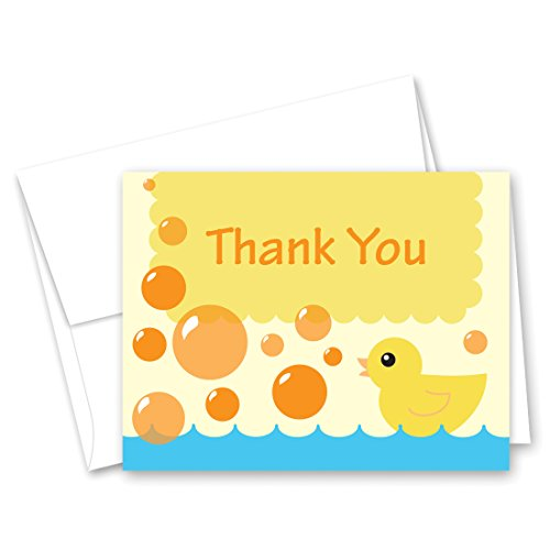 50 Cnt Yellow Duck Bubbles Bath Baby Shower Thank You Cards (Baby Girl Wording Shower Invitations)