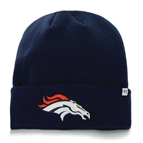 (Denver Broncos Navy Blue Cuff Beanie Hat - NFL Cuffed Winter Knit Toque Cap)
