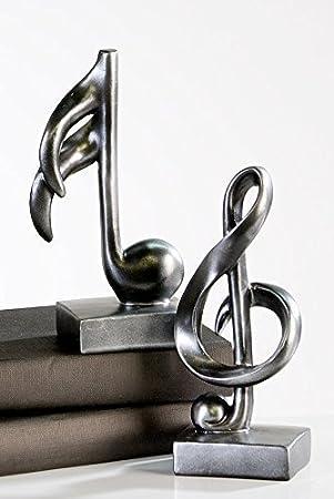 moderna escultura figura decorativa de music antracita de clave de sol poli altura cm