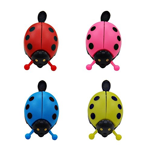 SkyCooool 4 Pcs Kids Bike Bell, Cute Ladybug Bicycle Warning Bell for Boys Girls Toddler, Red, Rose Red, Blue and - Little Cute Ladybug