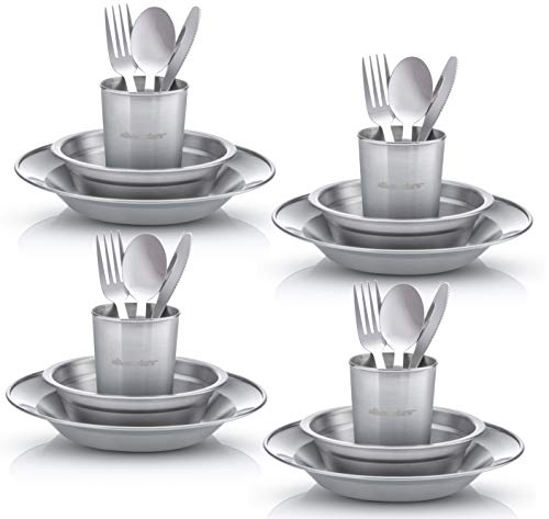 (Wealers Unique Complete Messware Kit Polished Stainless Steel Dishes Set| Tableware| Dinnerware| Camping| Buffet| Includes - Cups | Plates| Bowls| Cutlery| Comes in Mesh Bags (4 Person Set))