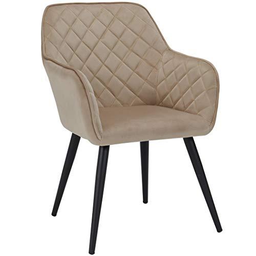 Beige 8058 Farbauswahl Rückenlehne StoffsamtCappuccino Aus Stuhl Duhome Metallbeine Design Esszimmerstuhl Mit Sessel Retro Armlehnstuhl Aq54jL3R