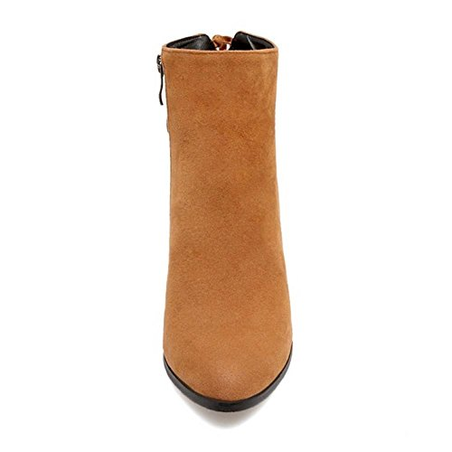 COOLCEPT Women Fashion Block Heel Ankle High Boots With Zipper Yellow-Brown qfs1udbvV