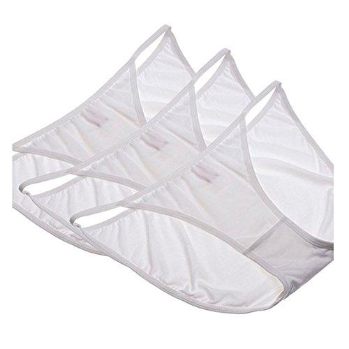 OUGES Women's sleek String Bikini Panty(White,3pcs/Pack)